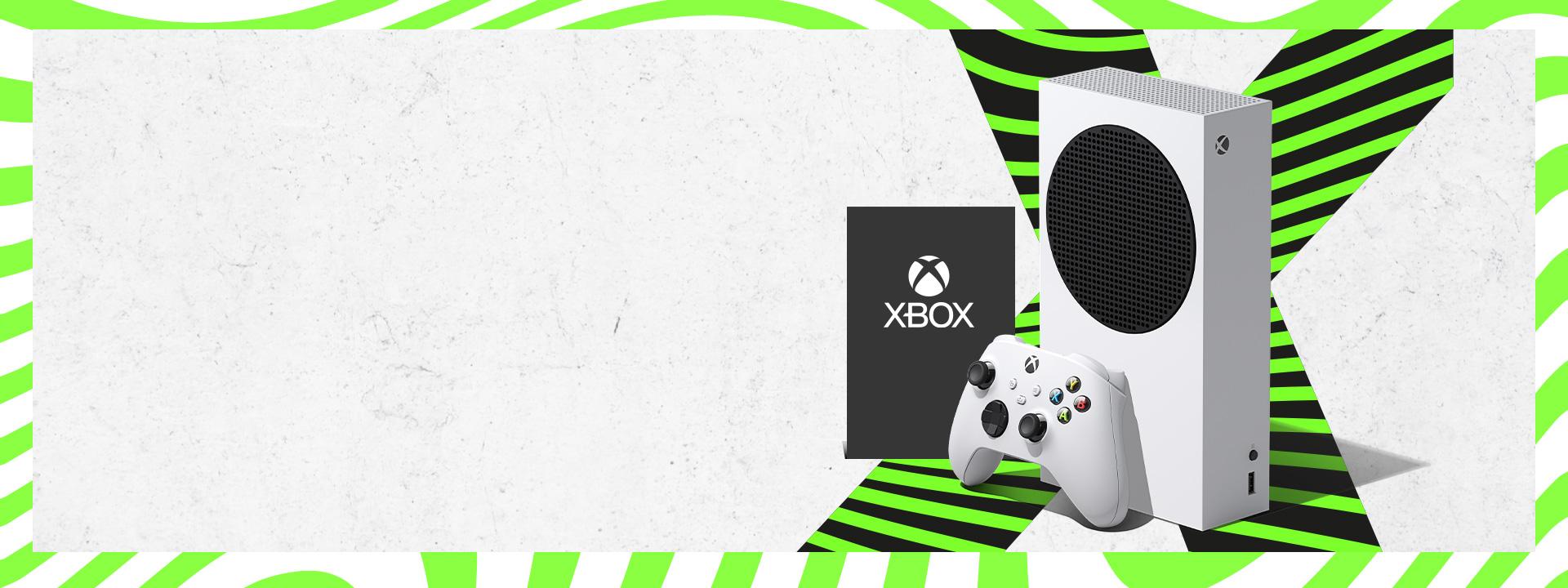 Biela konzola Xbox SeriesS a ovládač vedľa loga Xbox na zelenom a čiernom písmene X.