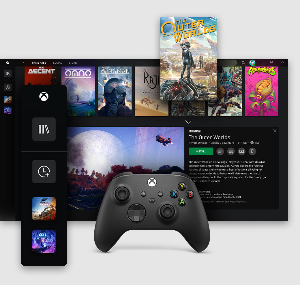 Xbox app for Windows PC user interface showing the game pass tab