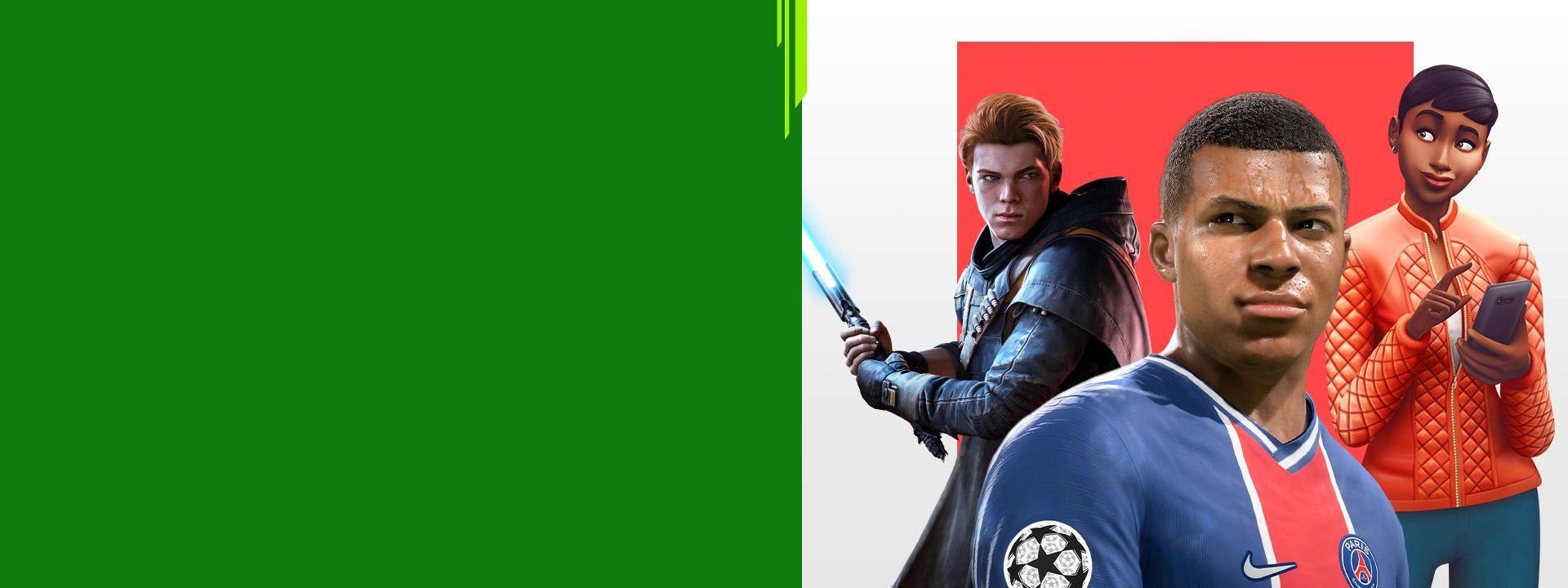 Grafica dei personaggi dei giochi EA, tra cui Star Wars Jedi: Fallen Order, FIFA 22 e The Sims 4.