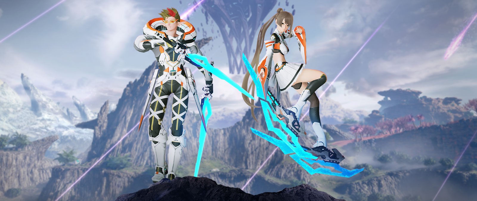Two characters wearing white, orange, yellow, and black with  light blue weapons in front of a rocky landscape