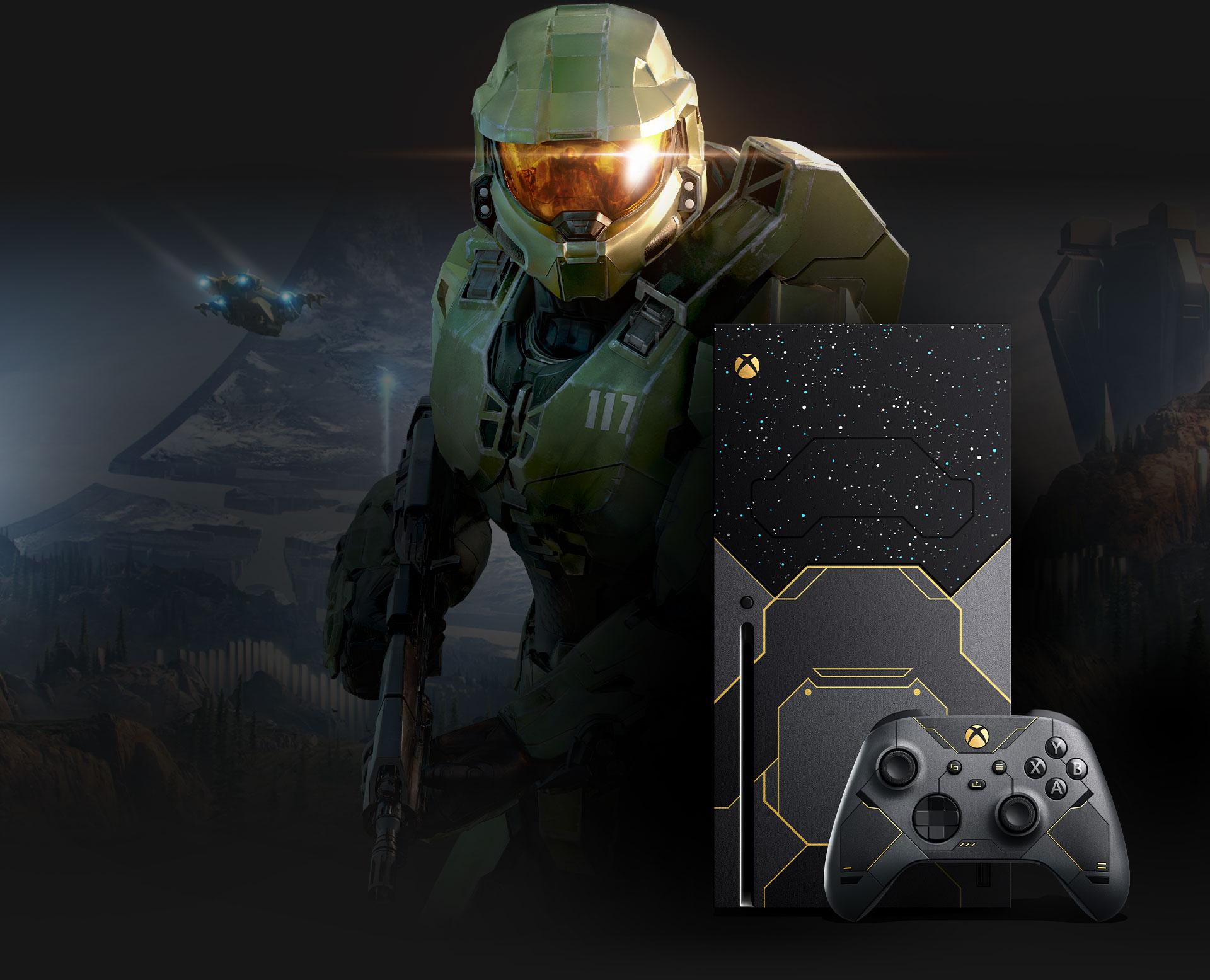 Master Chief accanto alla console Xbox SeriesX Halo Infinite in edizione limitata