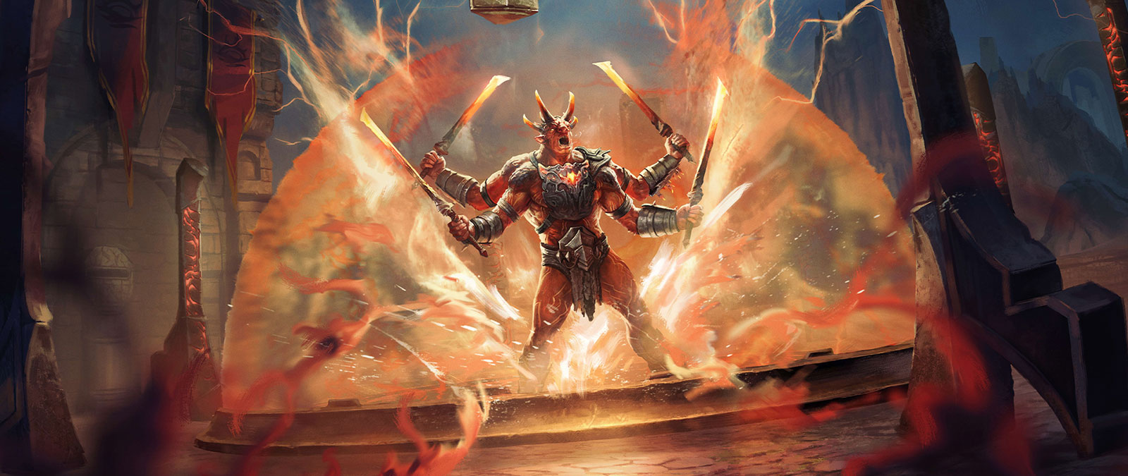A red horned creature with four arms and four glowing blades surrounded by a magical aura
