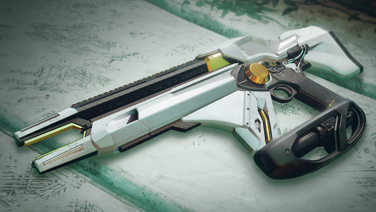 White, black, and gold weapon on a white table