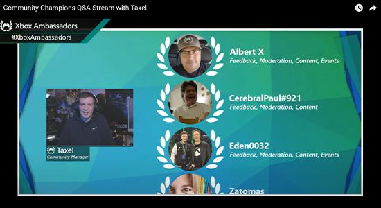 Video thumbnail: Xbox Ambassadors Community Champions Q and A stream screenshot.