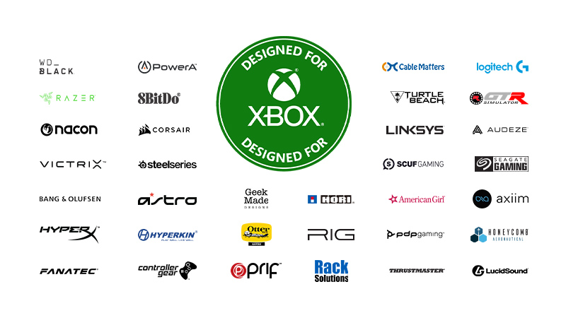 Numerous logos of companies that Xbox has partnered with to create accessories.