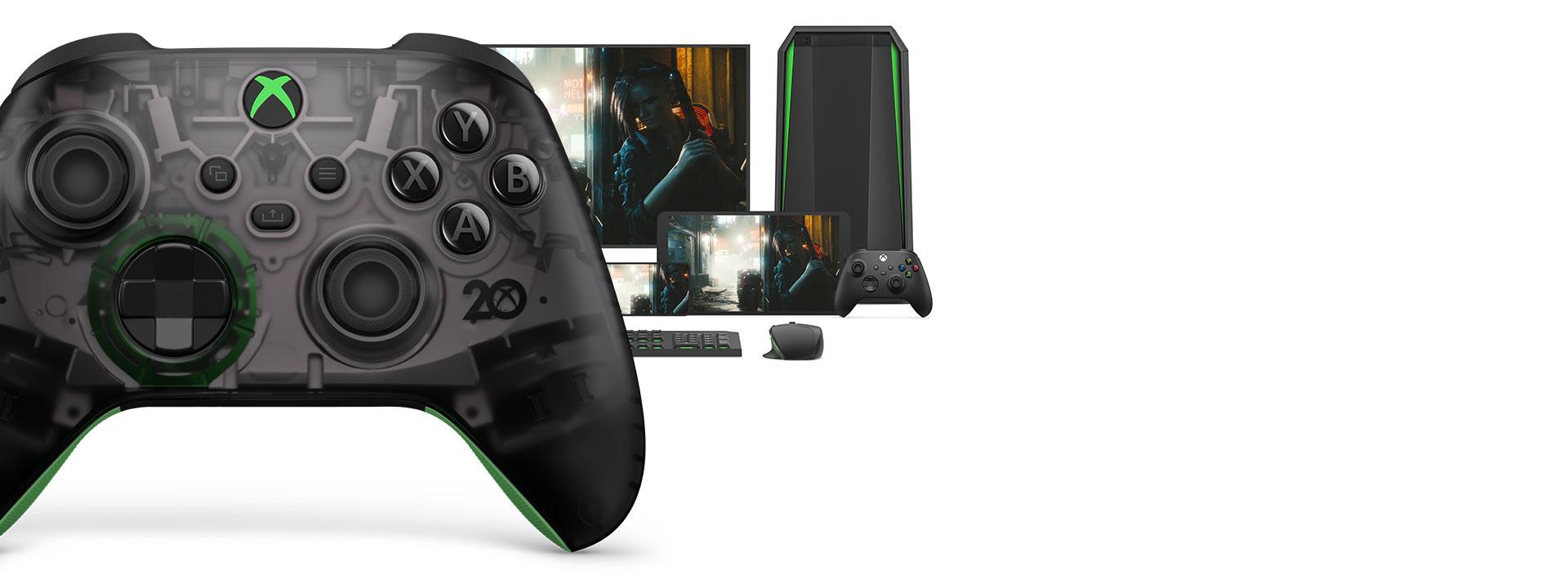 Беспроводной геймпад Xbox из особой серии к 20-летней годовщине с компьютером, телевизором и консолью Xbox SeriesS