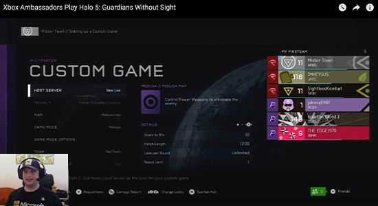 Video thumbnail: Xbox Ambassadors play Halo 5: Guardians Without Sight screenshot.