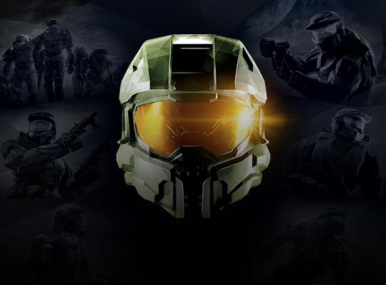 Vista frontale del casco di Master Chief di Halo con scene di battaglia sullo sfondo.
