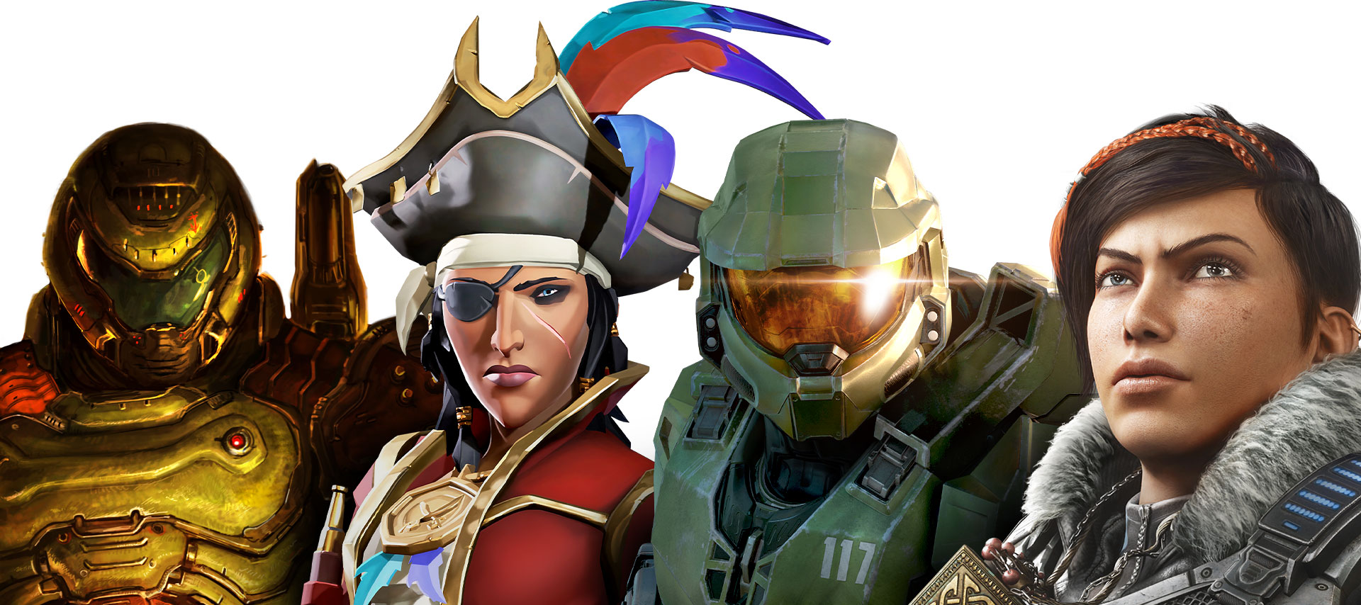 A line-up of characters featured in games on Xbox Game Pass. From left to right: DOOM Eternal, Sea of Thieves, Halo: Infinite and Gears 5.