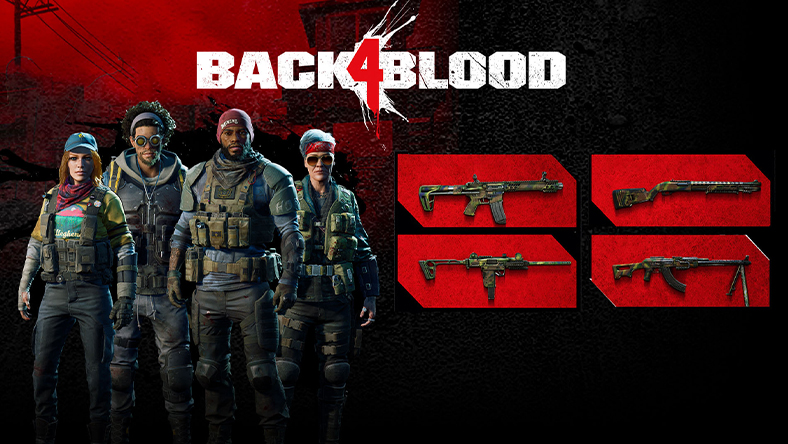 Back 4 Blood: Back 4 Blood logo with four game characters and four fire arms.