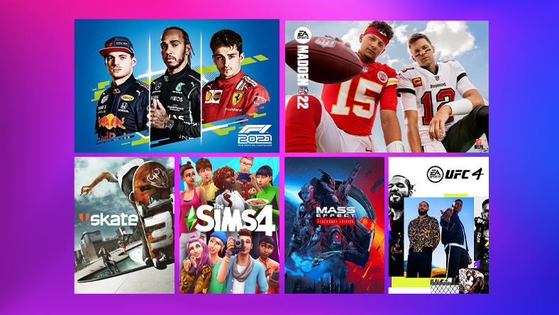 Electronic Arts Publisher Sale, box art from games that are part of the sale, including F1 2020, Madden 22, and The SIMS 4.