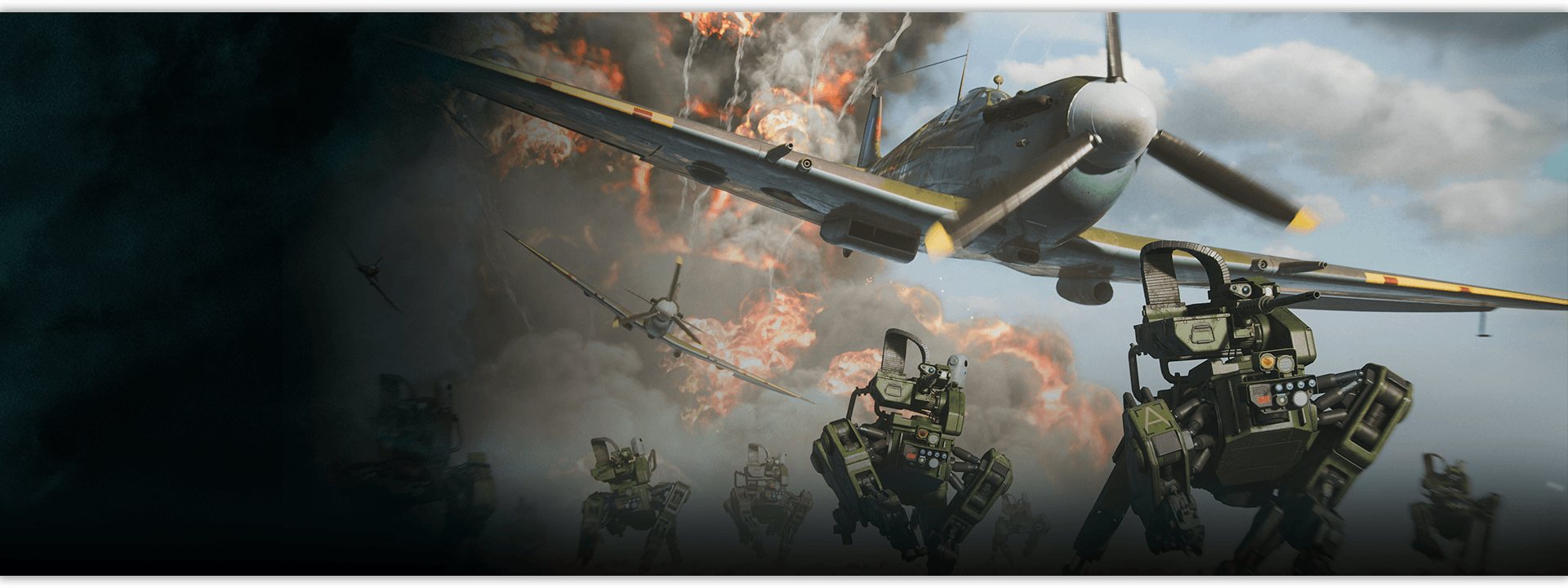 EOD bots and low flying planes flee from an explosion