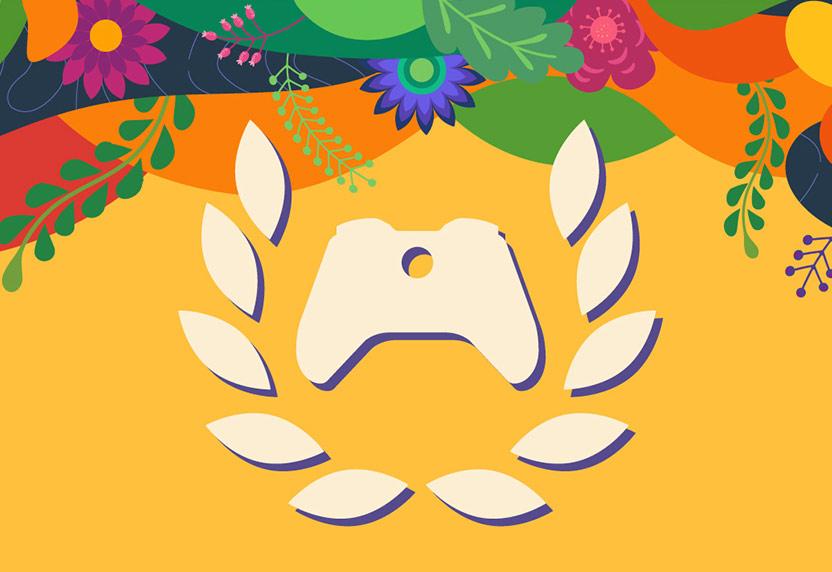 Xbox Ambassadors logo on a colorful background in celebration of Hispanic Heritage Month