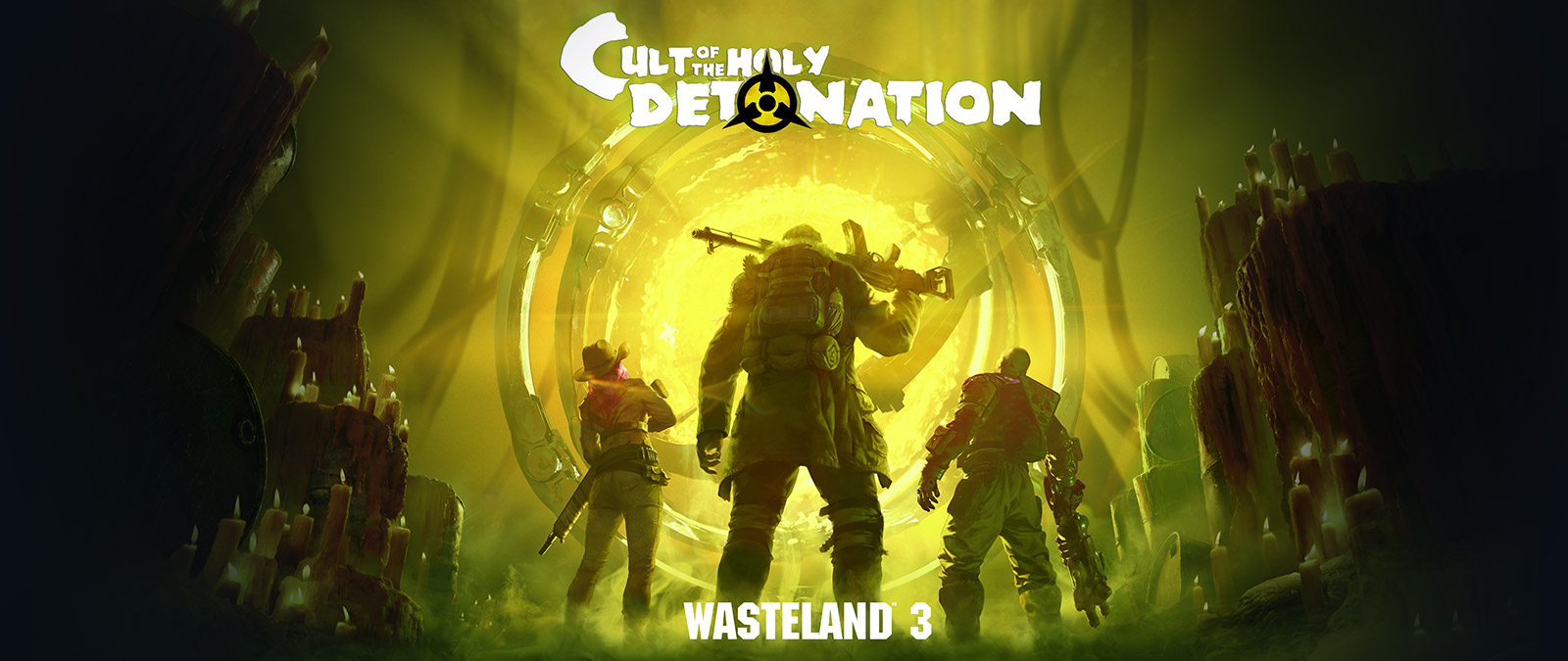 Wasteland 3: Cult of the Holy Detonation, useita maailmanlopun jälkeisiä sankareita tuijottaa hehkuvaan kultaiseen portaaliin.