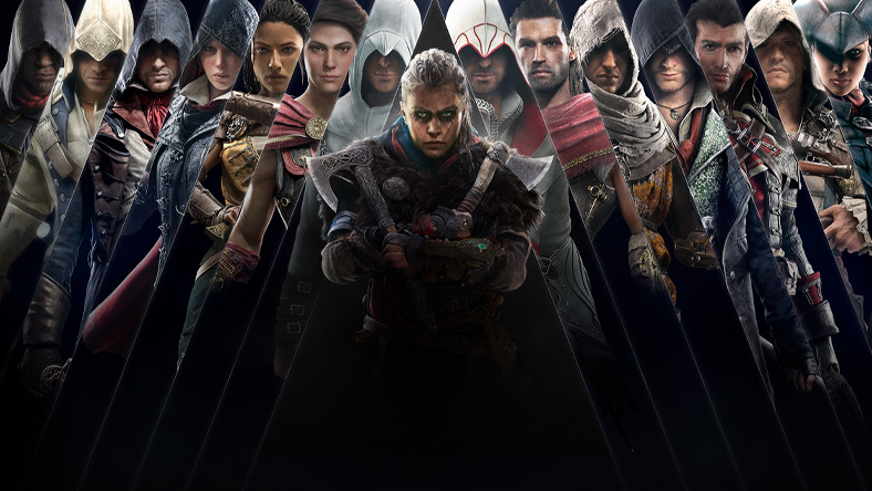 Assassin's Creed Franchise Sale,, characters from games that are part of the sale, including Assassin's Creed Valhalla, Assassin's Creed Odyssey, and Assassin's Creed IV Black Flag.