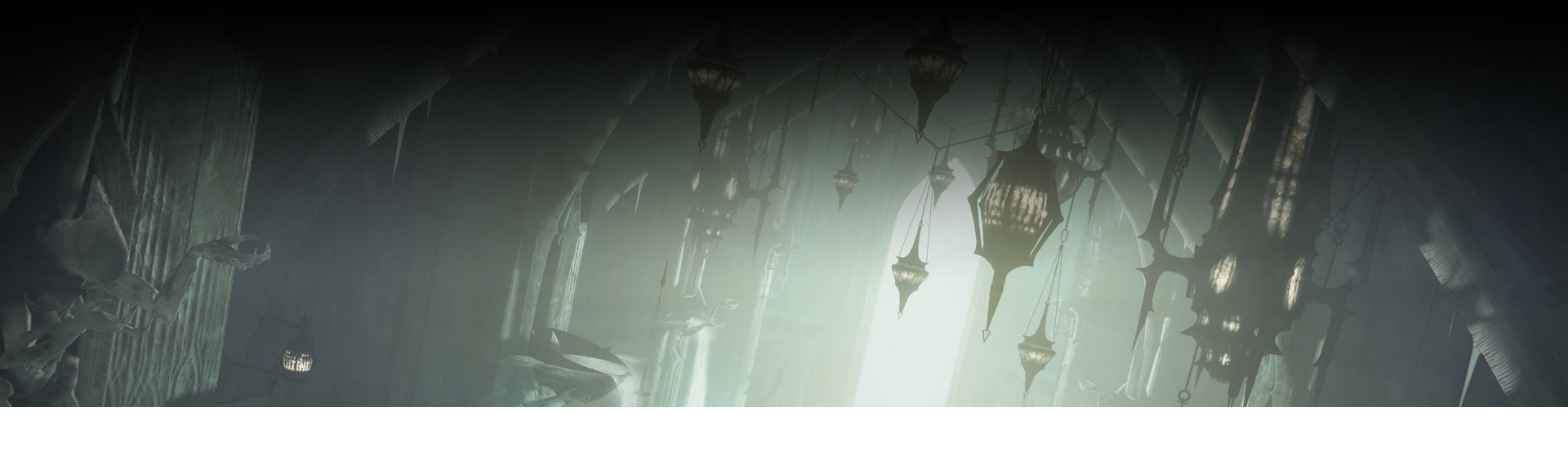 Many lanterns hanging from cathedral-style ceiling