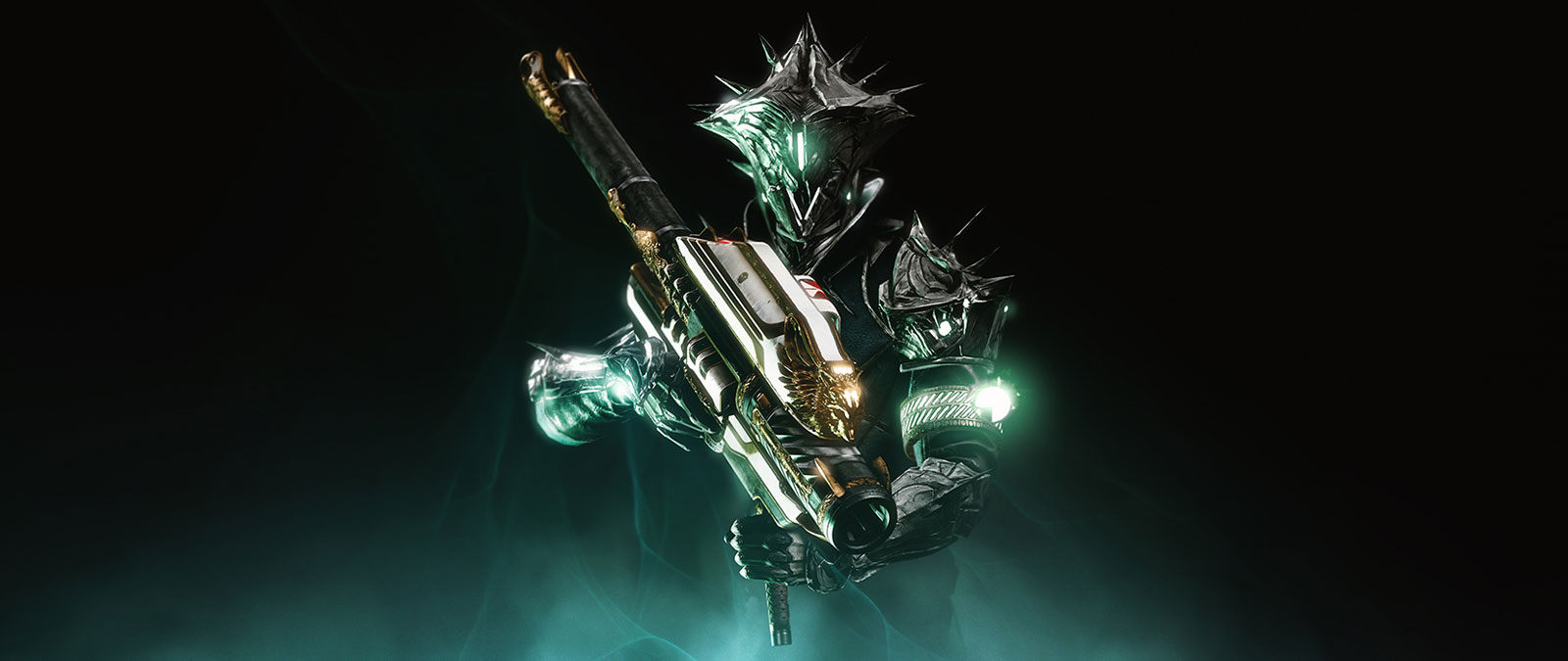 Character wearing a featured armor skin while holding a large gun