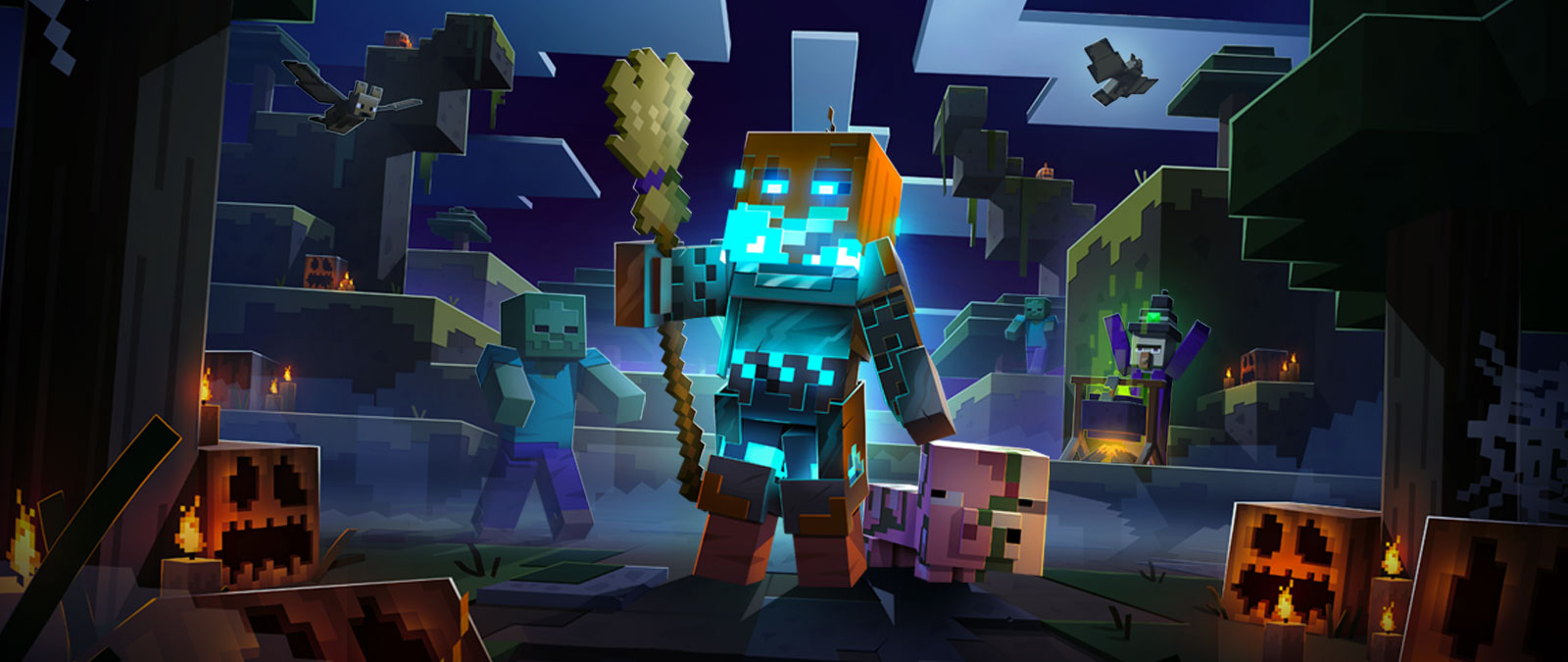 Minecraft Dungeons character in a jack-o-lantern skin holding a broom with pumpkins, zombies, bats, and a witch villager.