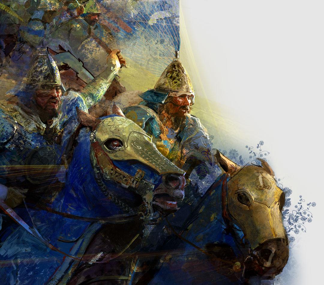 Age of Empires IV, postavy z hry idú na koňoch do bitky.
