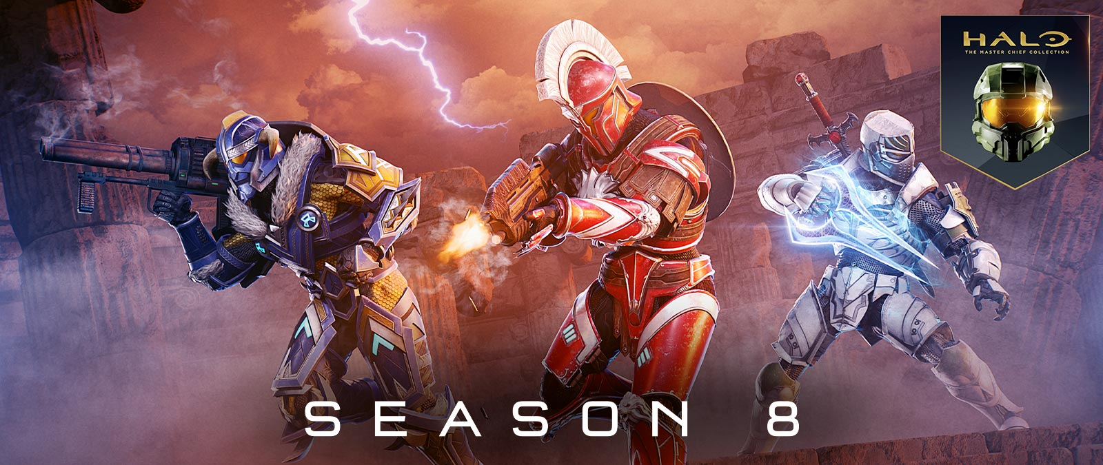 Halo: The Master Chief Collection, Season 8, Multiple Elites pose wearing different armor and holding weapons
