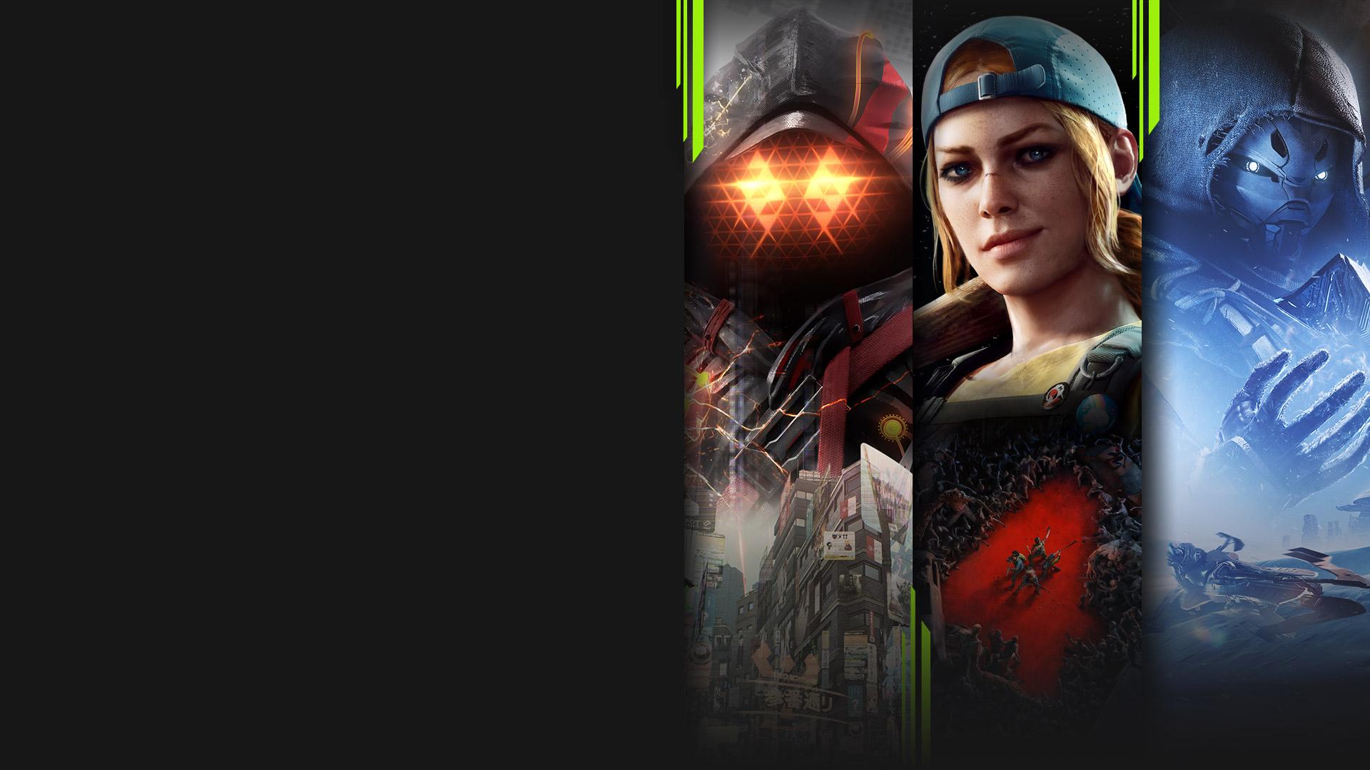 Grafika z viacerých hier dostupných na PC s predplatným Xbox Game Pass vrátane Scarlet Nexus, Back 4 Blood, Destiny 2 a Age of Empires IV.