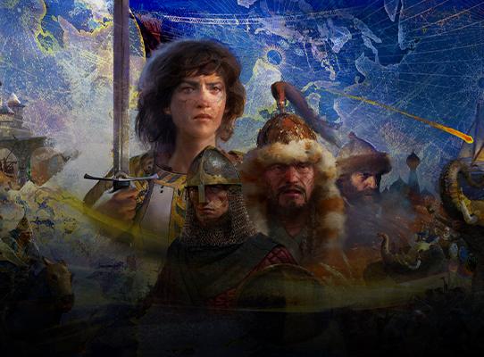 Personaggi di Age of Empires IV con sullo sfondo scene prese dal gioco.
