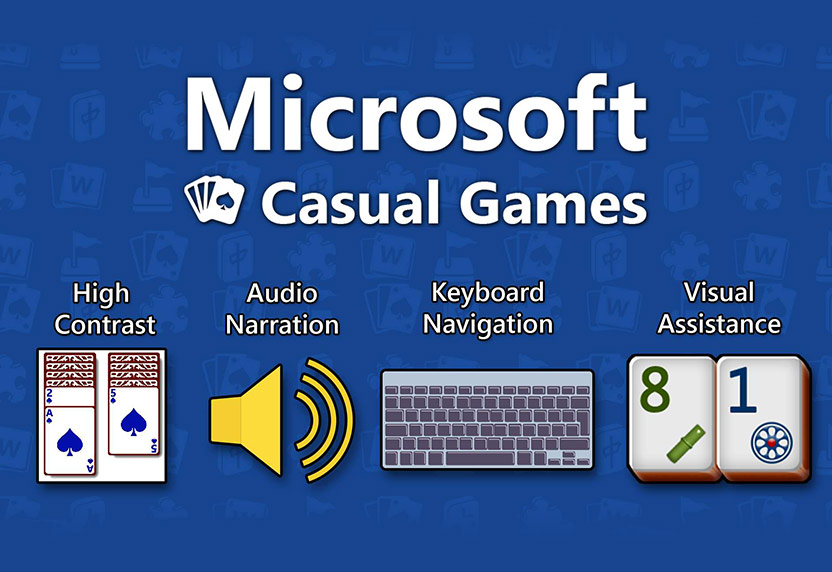 Microsoft Casual Games, High contrast with card deck, Audio Narration with volume symbol, Keyboard navigation with keyboard, and Visual Assistance with two cards with numbers and symbols.