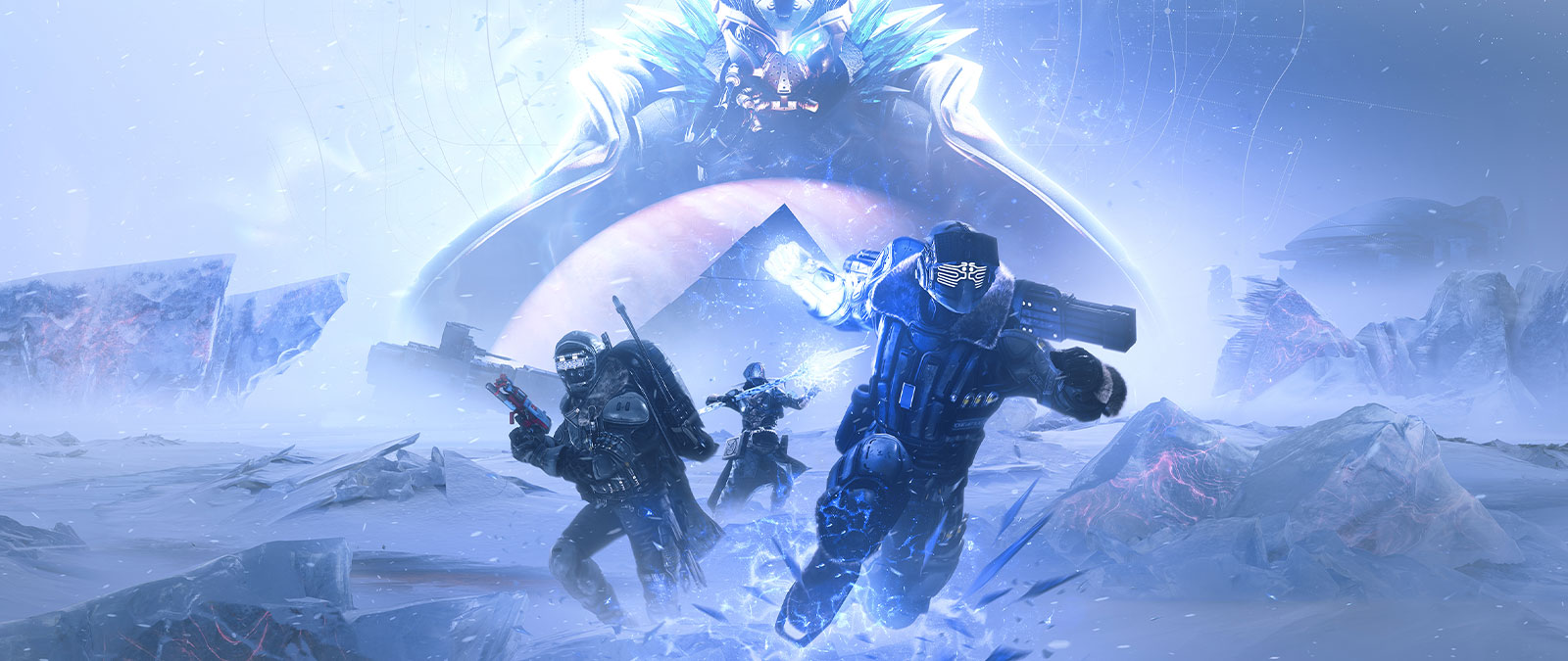 Three guardians use statis powers on an icy tundra