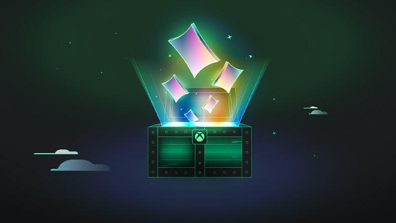 Illuminated rectangles floating out of a green treasure chest with an Xbox sphere