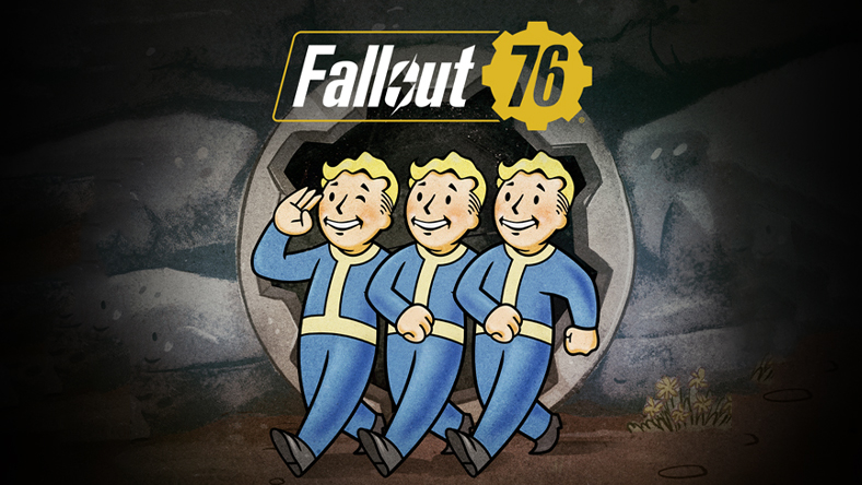 Fallout 76: Fallout 76 logo with three Fallout characters walking out of a mine.