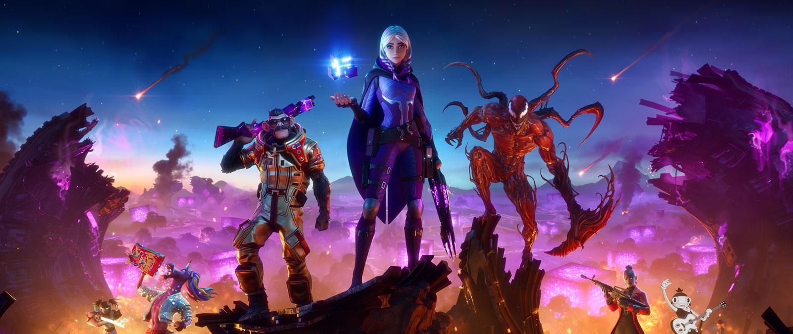 Sette personaggi con skin cosmetiche diverse posano in una nave madre aliena distrutta tra i cubi che la alimentavano.