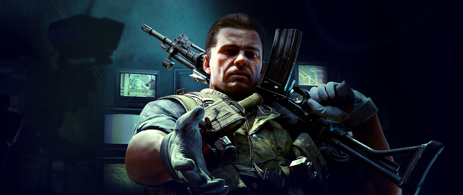 Character wearing tactical gear with a gun on his shoulder and his other hand out with a background of many monitors