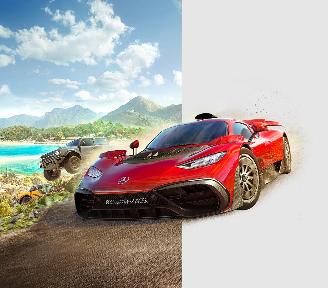 Forza Horizon 5, červený Mercedes preteká na morskom pobreží so sivým Broncom a oranžovým nákladným autom.