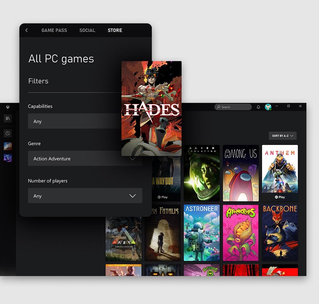 L'interfaccia utente dell'app Xbox per PC Windows su cui è visualizzata la scheda Store
