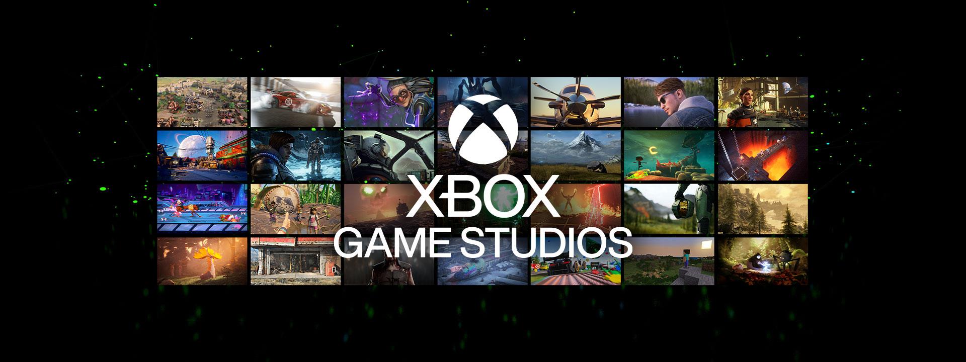 Xbox Games Studios logo over an array of game screenshots