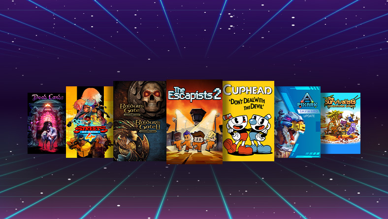 ID@Xbox Retro Sale, box shots from games that are part of the sale, including CupHead, The Escapists 2, and Dead Lands.
