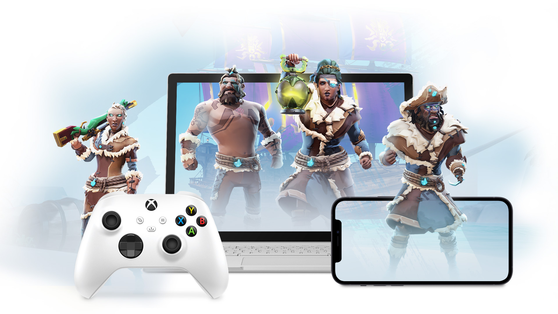 Sea of Thieves pirates emerging from phone and laptop devices.