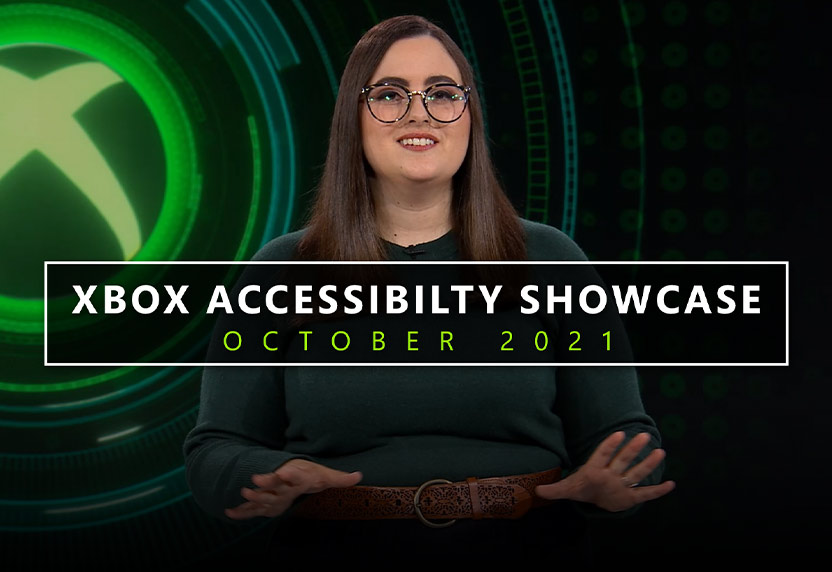 Xbox Accessibility Showcase October 2021, Woman standing in front of Xbox logo