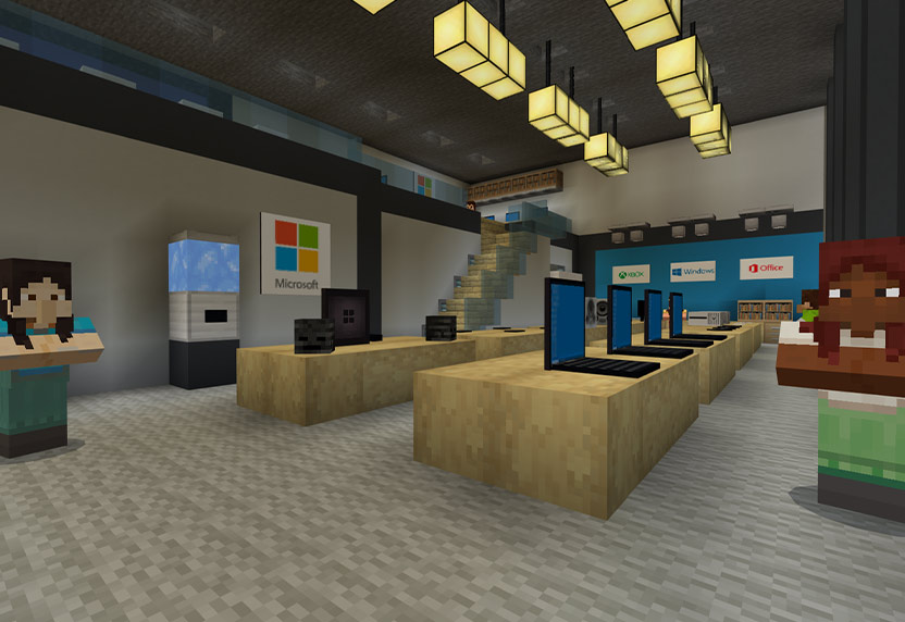 Minecraft office scene with desks and Microsoft computers
