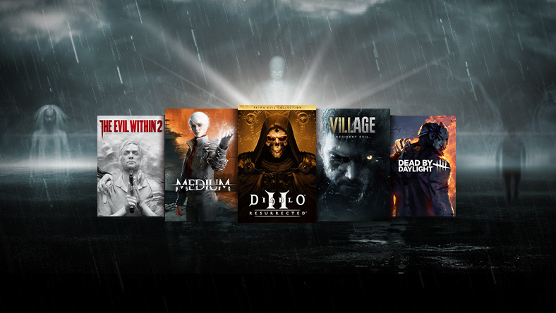 Shocktober sale, box art from games that are part of the sale, including Diablo II: Resurrected, Medium, and Dead by Daylight.