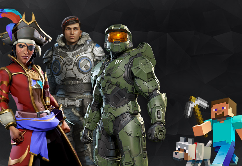 Characters from popular games in the Xbox Community Game Club, including Halo, Sea of Thieves, and Minecraft.
