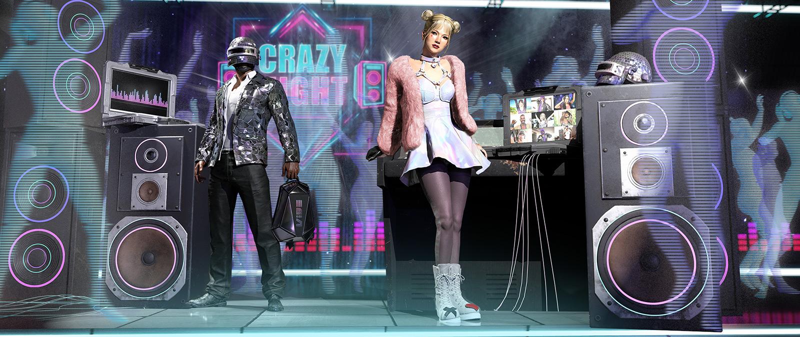 Dos personajes en un escenario con grandes altavoces y apariencias de Crazy Night