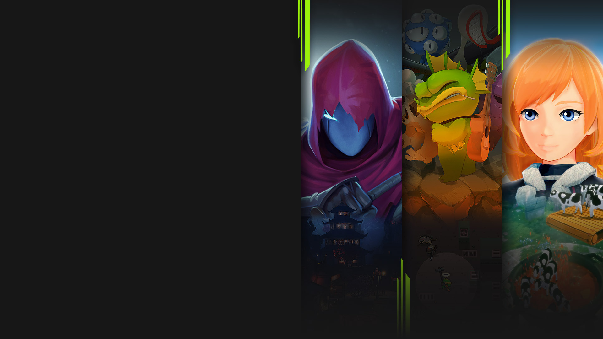 Game art from multiple games available now with Xbox Game Pass including Aragami 2, Nuclear Throne, Craftopia and Psychonauts 2.