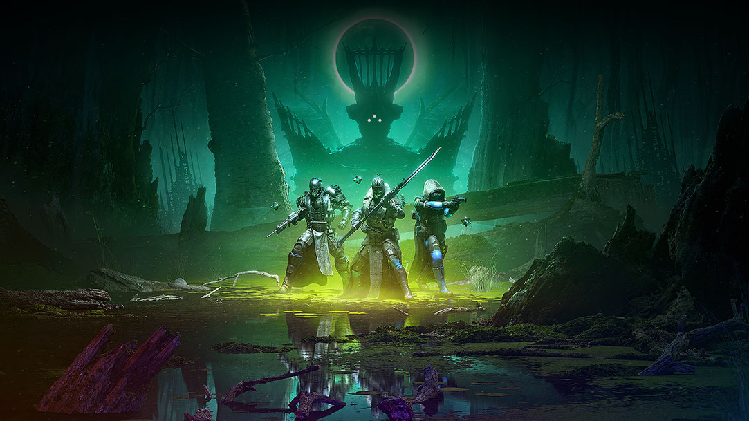 Three armored characters with weapons walking through a swamp reflected with many colors while the Witch Queen looms over them in the background.