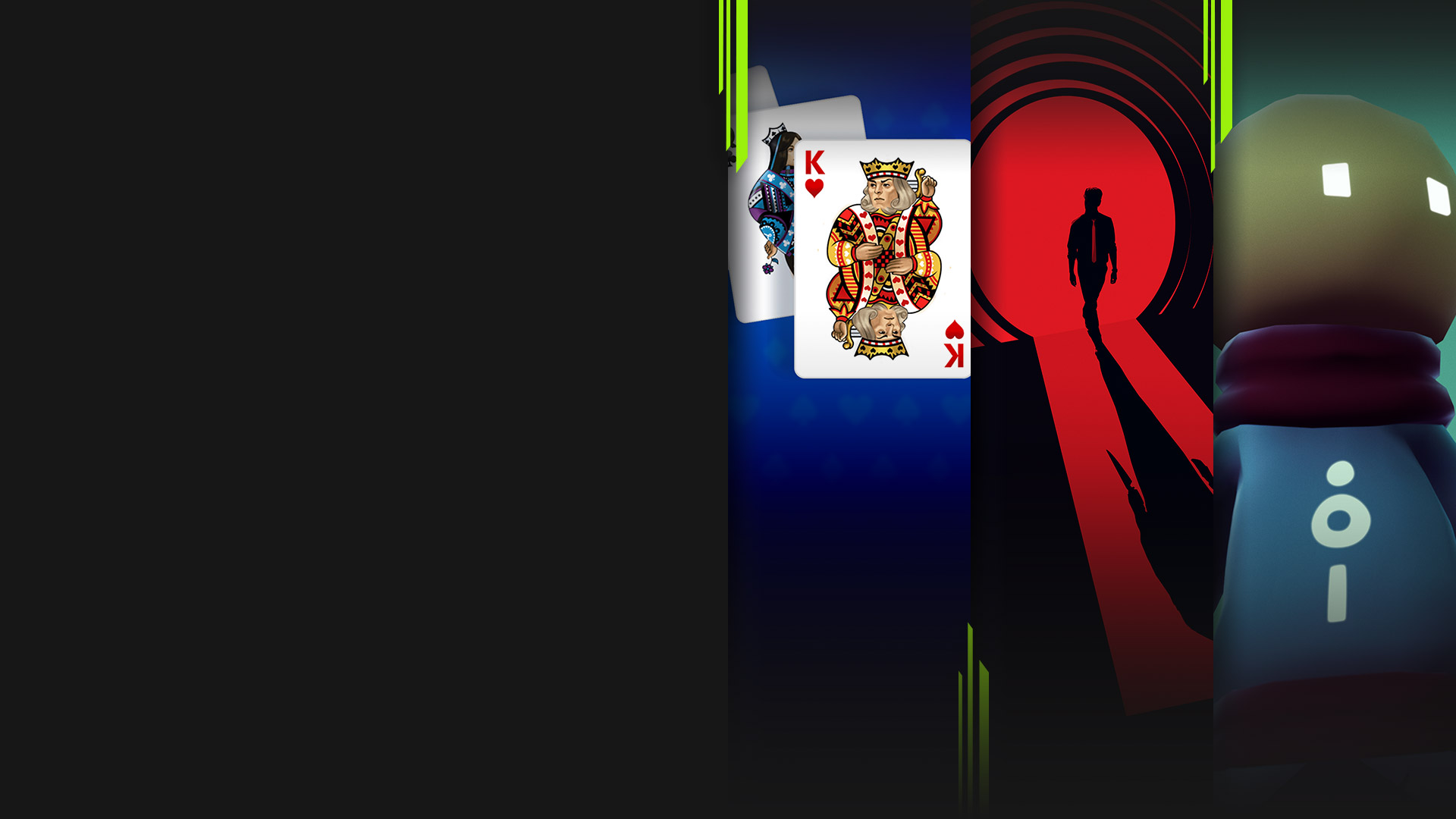 Game art from multiple Xbox Game Pass games available on PC including Microsoft Solitaire Collection, Twelve Minutes, Omno, and Hades.