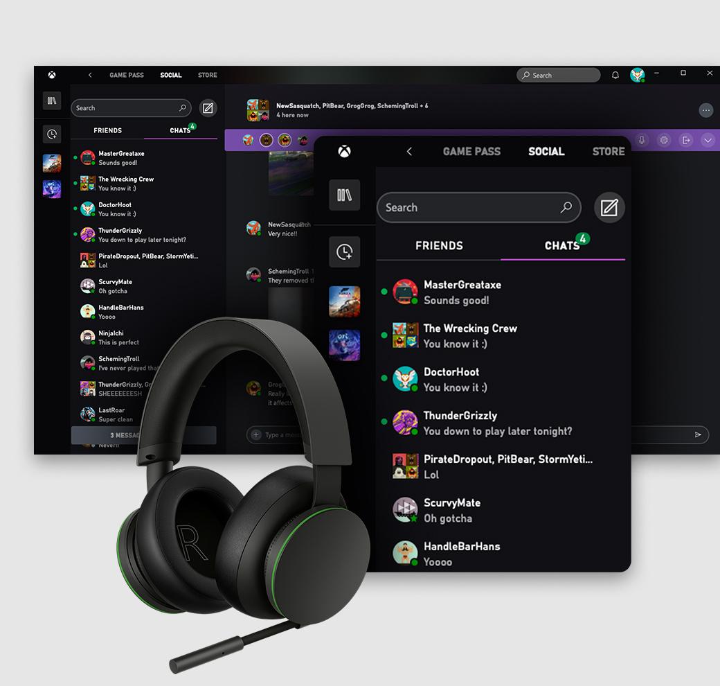 L'interfaccia utente dell'app Xbox per PC Windows su cui è visualizzata la scheda Social