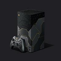 vista angolare destra della console Xbox SeriesX Halo Infinite e miniatura del controller