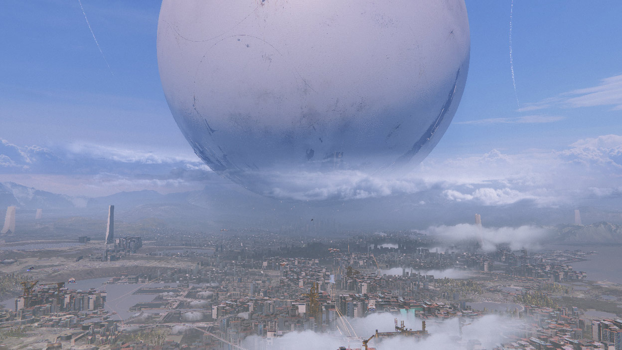 A city with a large white sphere in the sky