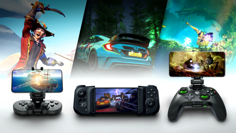 8BitDo SN30 Pro controller, Razer Kishi, and MOGA XP5-X controllerwith game artwork of Sea of Thieves, Forza Horizon 4, Ori and the Blind Forest.