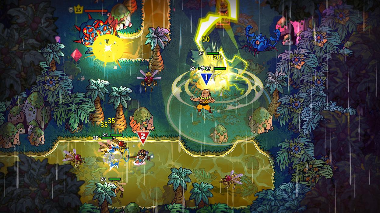 Komiksové postavy bojují s nestvůrami v bažině v džungli.